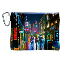Abstract Vibrant Colour Cityscape Canvas Cosmetic Bag (xxl)