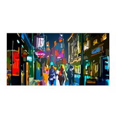 Abstract Vibrant Colour Cityscape Satin Wrap