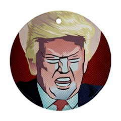 Donald Trump Pop Art President Usa Round Ornament (two Sides)