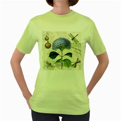 Vintage Shabby Chic Dragonflies Women s Green T Shirt