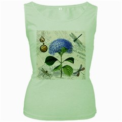 Vintage Shabby Chic Dragonflies Women s Green Tank Top