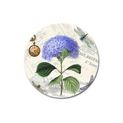 Vintage Shabby Chic Dragonflies Magnet 3  (round)