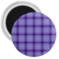 Purple Plaid Original Traditional 3  Magnets