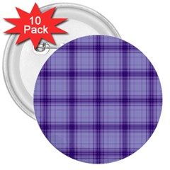 Purple Plaid Original Traditional 3  Buttons (10 Pack)