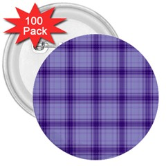 Purple Plaid Original Traditional 3  Buttons (100 Pack)