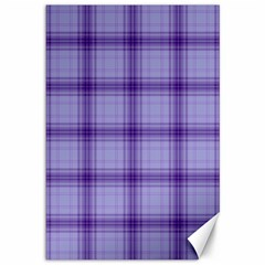 Purple Plaid Original Traditional Canvas 12  X 18