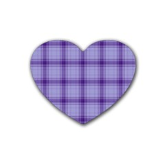 Purple Plaid Original Traditional Heart Coaster (4 Pack)