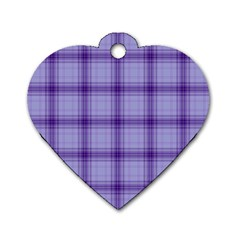 Purple Plaid Original Traditional Dog Tag Heart (one Side)