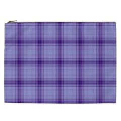 Purple Plaid Original Traditional Cosmetic Bag (xxl)
