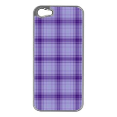 Purple Plaid Original Traditional Apple Iphone 5 Case (silver)
