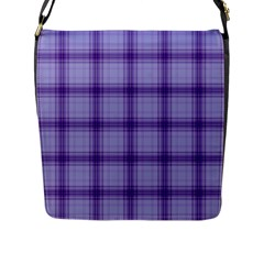 Purple Plaid Original Traditional Flap Messenger Bag (l)