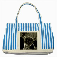 Space Universe Earth Rocket Striped Blue Tote Bag