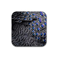 Feather Bird Bird Feather Nature Rubber Square Coaster (4 Pack)