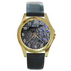 Feather Bird Bird Feather Nature Round Gold Metal Watch
