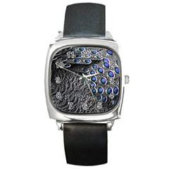 Feather Bird Bird Feather Nature Square Metal Watch