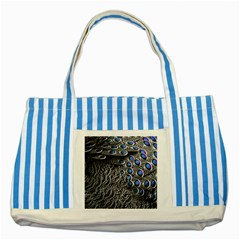 Feather Bird Bird Feather Nature Striped Blue Tote Bag