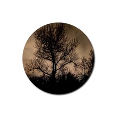 Tree Bushes Black Nature Landscape Rubber Round Coaster (4 Pack)