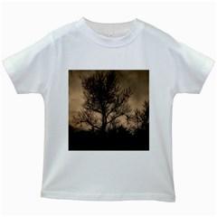Tree Bushes Black Nature Landscape Kids White T Shirts