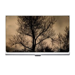 Tree Bushes Black Nature Landscape Business Card Holders
