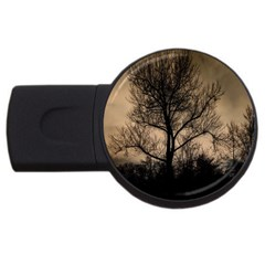 Tree Bushes Black Nature Landscape Usb Flash Drive Round (2 Gb)