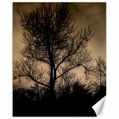 Tree Bushes Black Nature Landscape Canvas 16  X 20