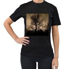 Tree Bushes Black Nature Landscape Women s T Shirt (black)