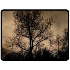 Tree Bushes Black Nature Landscape Fleece Blanket (large)