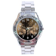 Tree Bushes Black Nature Landscape Stainless Steel Analogue Watch
