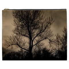 Tree Bushes Black Nature Landscape Cosmetic Bag (xxxl)