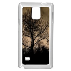 Tree Bushes Black Nature Landscape Samsung Galaxy Note 4 Case (white)