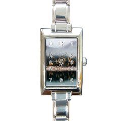 Trees Plants Nature Forests Lake Rectangle Italian Charm Watch