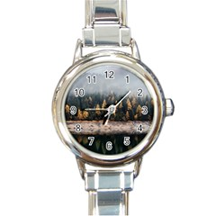 Trees Plants Nature Forests Lake Round Italian Charm Watch