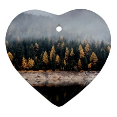 Trees Plants Nature Forests Lake Ornament (heart)