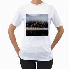 Trees Plants Nature Forests Lake Women s T Shirt (white) (two Sided)