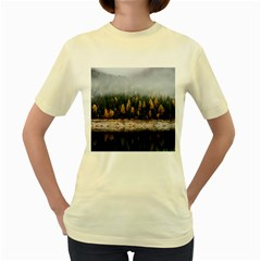 Trees Plants Nature Forests Lake Women s Yellow T Shirt