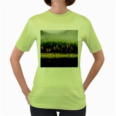 Trees Plants Nature Forests Lake Women s Green T Shirt