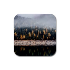Trees Plants Nature Forests Lake Rubber Square Coaster (4 Pack)