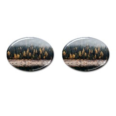 Trees Plants Nature Forests Lake Cufflinks (oval)