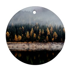 Trees Plants Nature Forests Lake Round Ornament (two Sides)