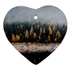 Trees Plants Nature Forests Lake Heart Ornament (two Sides)