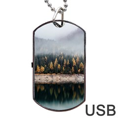 Trees Plants Nature Forests Lake Dog Tag Usb Flash (one Side)