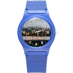 Trees Plants Nature Forests Lake Round Plastic Sport Watch (s)