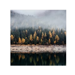 Trees Plants Nature Forests Lake Small Satin Scarf (square)