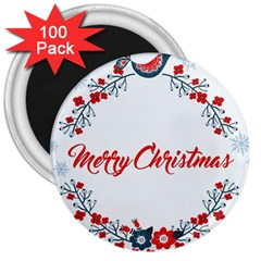Merry Christmas Christmas Greeting 3  Magnets (100 Pack)