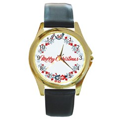 Merry Christmas Christmas Greeting Round Gold Metal Watch