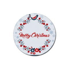 Merry Christmas Christmas Greeting Rubber Coaster (round)