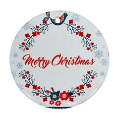 Merry Christmas Christmas Greeting Round Ornament (two Sides)