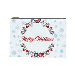 Merry Christmas Christmas Greeting Cosmetic Bag (large)