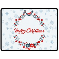 Merry Christmas Christmas Greeting Double Sided Fleece Blanket (large)