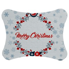 Merry Christmas Christmas Greeting Jigsaw Puzzle Photo Stand (bow)